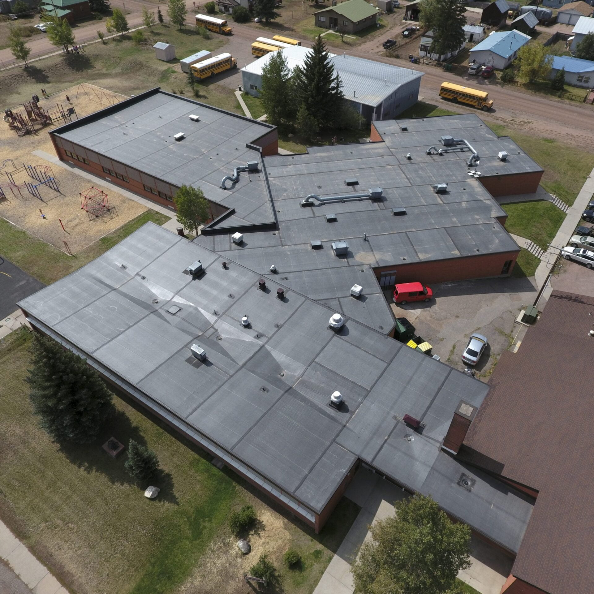 Image shot at South Routt Elementary School, After Drone Shots, Yampa, Colorado, September 18, 2020, Jeffrey Parr/Supreme Roofing