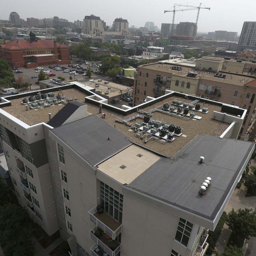 Image shot at Century Lofts, Completed Drone Shots, Denver, Colorado, September 21, 2020, Jeffrey Parr/Supreme Roofing