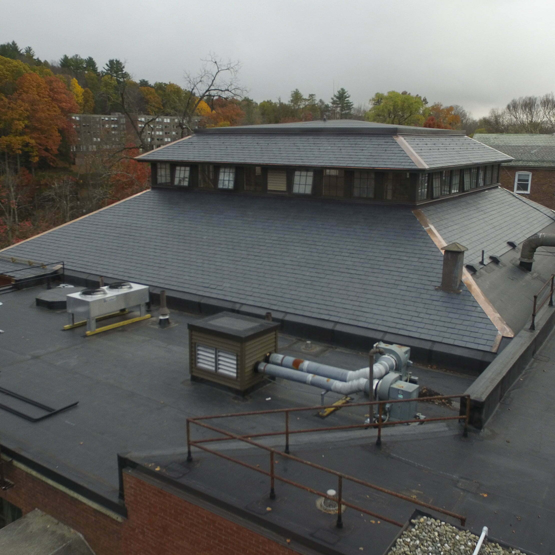 Image shot Mount Holyoke University Mail Bldg, Completed Project Drone, October 29, 2019, South Hadley, Massachusetts, Jeffrey Parr/Supreme Roofing