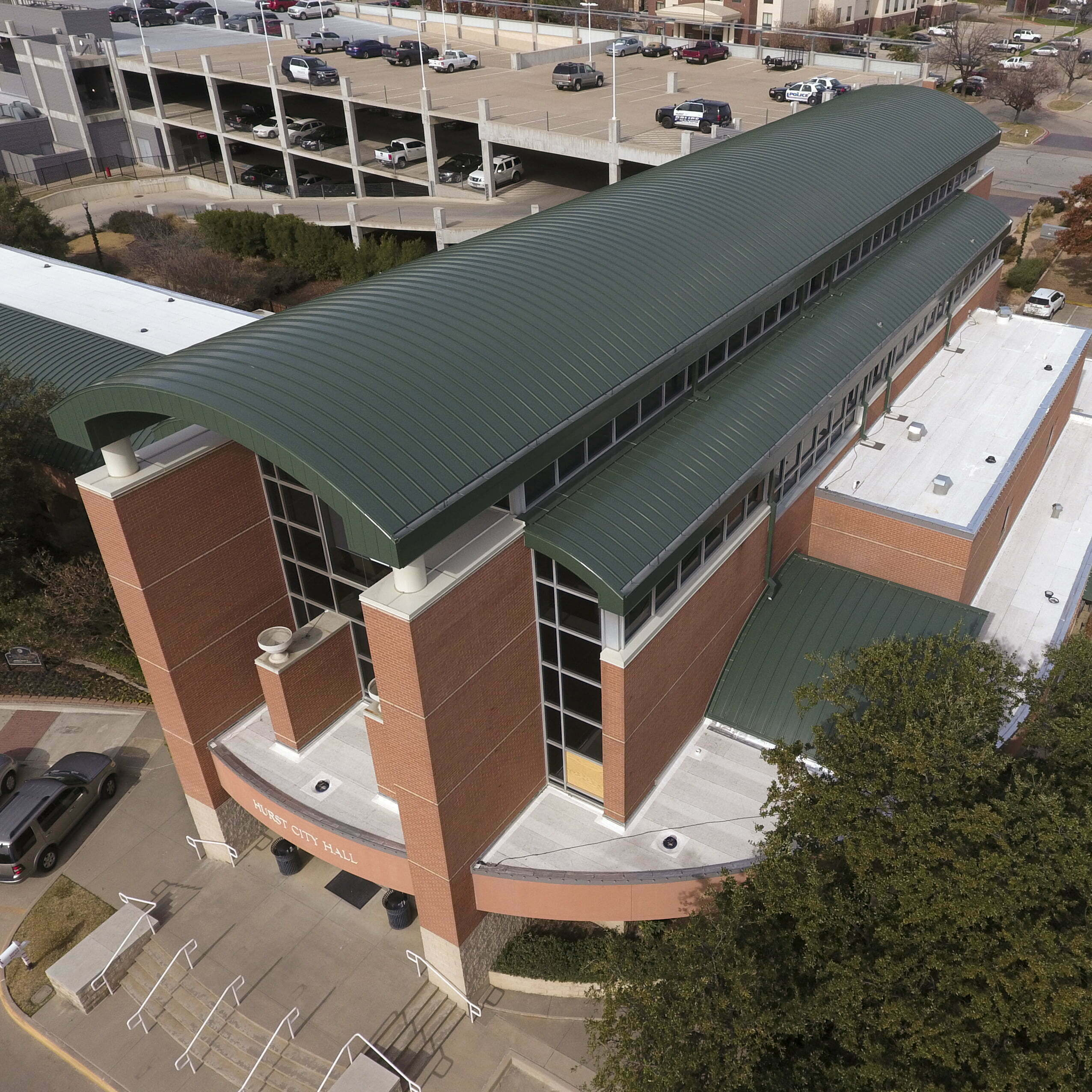 Image shot at the City of Hurst City Hall, Completed Drone Shots 2, Hurst, Texas, December 4, 2019, Jeffrey Parr/Supreme Roofing