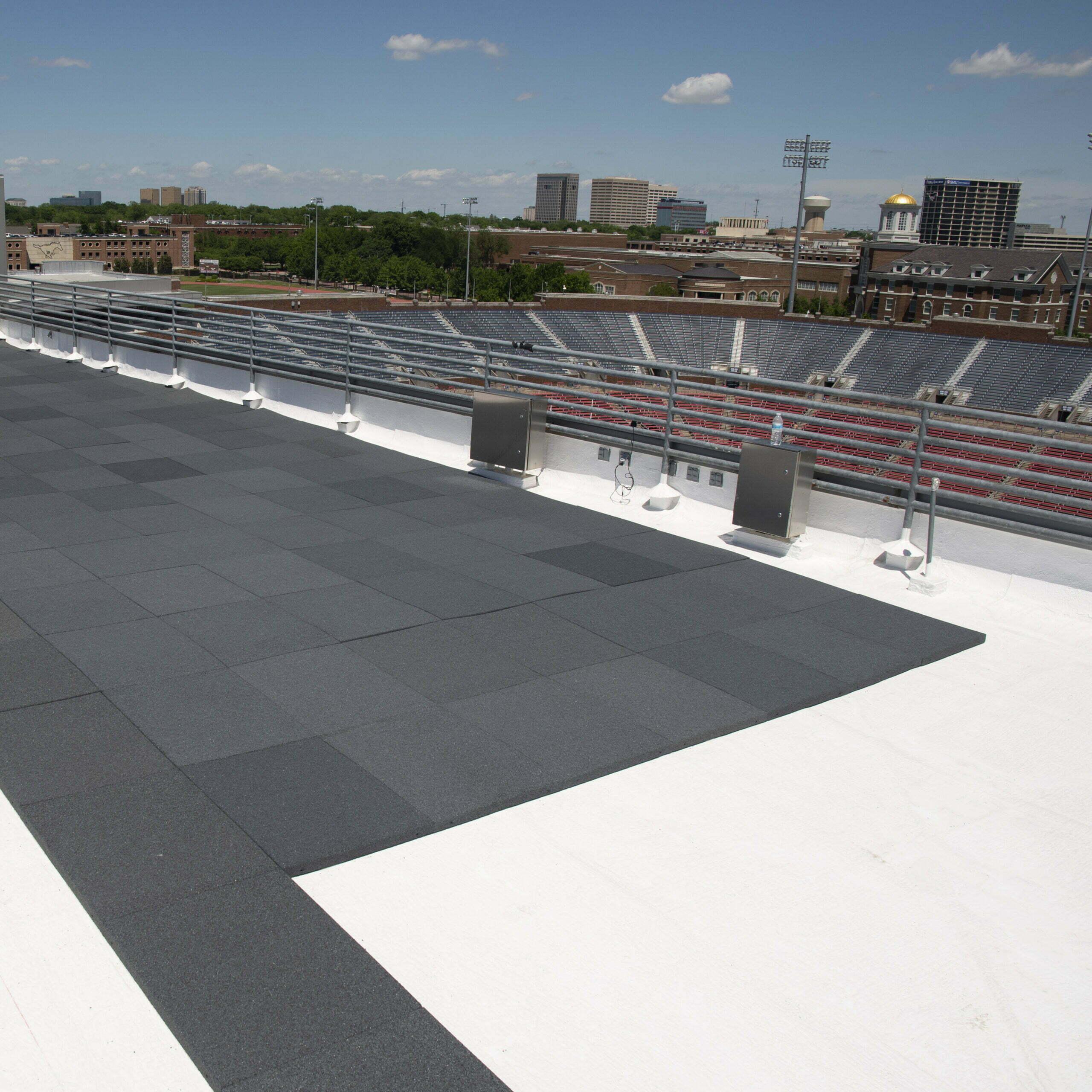 Image shot at SMU Stadium, Pavers Install on Suites, Dallas, Texas, April 25, 2019, Jeffrey Parr/Supreme Roofing